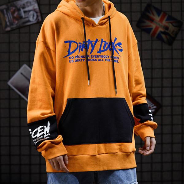 INS High Street Dark Wind Hip-hop Tide Tape Loose Street Dance sudaderas con capucha Graffiti Guardia impresa Hombres sudadera con capucha