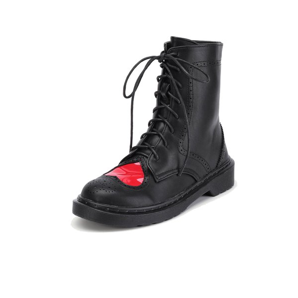 NIS Women Ankle Boots, Black/White Heart Shape Brogue Winter Warm Boots, Ladies Lovely Lace-up Sewing Round Toe High-top Shoes
