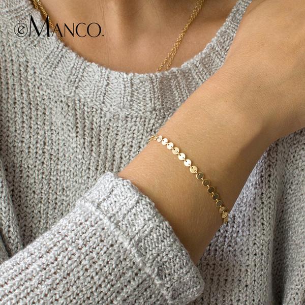 Cheap Bangles e-Manco Gold Color Minimalist Deasign Bracelets for Women Simple Round Adjustable Femme Bracelet Women Gift Brand Jewelry