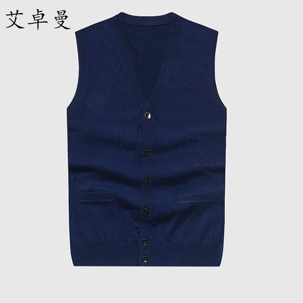 mens solid color sleeveless sweaters cardigans wool knitted single breasted men cashmere warm vest cardigan, Black;white