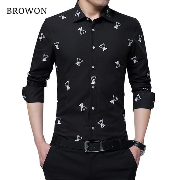 BROWON Herbst neue Art und Weise Mann-Hemd Sozial Slim Fit Dress Shirt Männer-T-Shirts mit langen Ärmeln Camisa Social Big Size Kleidung