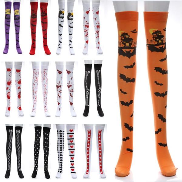Frauen Halloween Cosplay Strumpf Socke Für Fledermaus Blutigen Schädel Flagge Festival Maskerade Kostüm Leggings Lange Socken 30 Designs AN2221