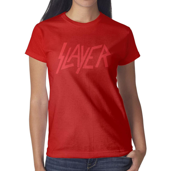 Womens design printing Slayer Logo Patch red t shirt printing funny vintage crazy champion shirts hip hop t shirt sport neon unique clas