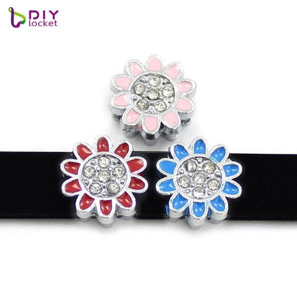 "10PCS! 8MM ""Flower & Fruit"" Slide Charms Fit for 8mm Wristband bracelet/ Belt/ Pet collar (10 styles can choose) LSSC67-157*10"