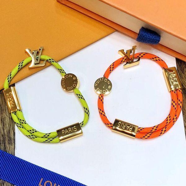 Bracciale stile corda verde arancio di lusso con logo in metallo color argento dorato per bracciali da donna e da uomo con cinturino in pelle fine jewelry