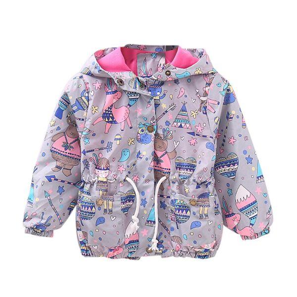 2017 Baby Girls Coat Cute Cartoon Printed Children Kids Outerwear Jacket Raincoat For Girl