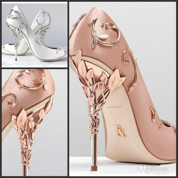 Ralph & Russo Designer Wedding Bridal Shoes pink/gold/burgundy Silk Satin Leaf Heels Shoes Wedding Evening Party Prom Shoes plus size 42