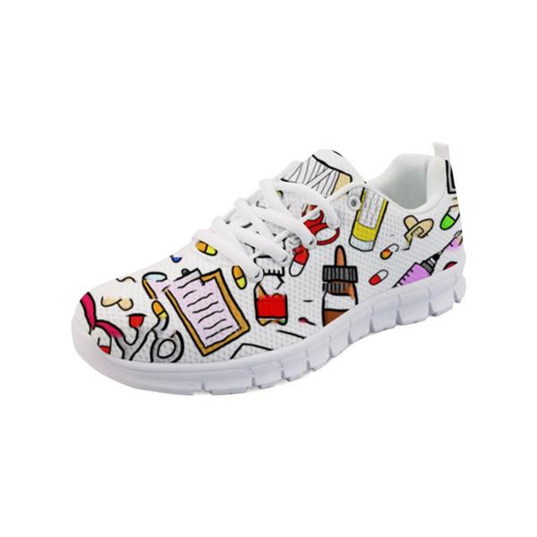 Noisydesigns 2019 Marca Designer Mulheres Enfermagem Sapatos Casuais Sapatos de Emagrecimento Swing Enfermeira Bonito Imprimir Mulheres Tênis Feminino-AQ