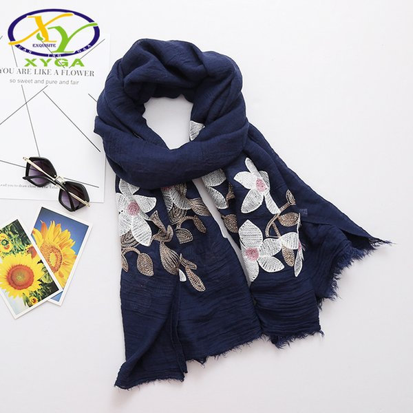 1PC 180*120CM 2018 Summer New Ethnic Style Embroidered Cotton Fashion Women Long Scarf Woman New Linen Shawls Pashminas Shawl