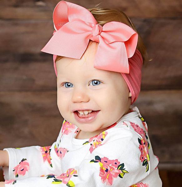 Bebek Bow Hairband Yumuşak Naylon Saç Bantları Elastik Çiçek Kafa Çocuk Doğum Günü Partisi Hediyeleri Saç Aksesuarları 18 Renkler OptionalWZW- YW2058