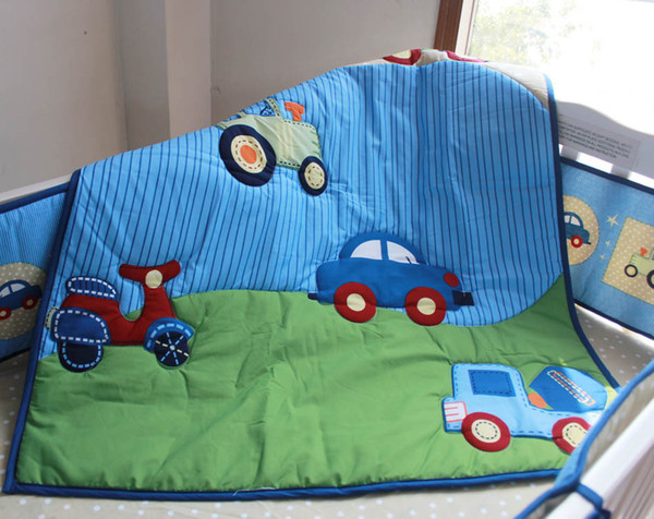 New arrival Baby bed linens cotton Crib bedding set 6Pcs Cot bedding set for boy infant Quilt Bumper Fitted Sheet