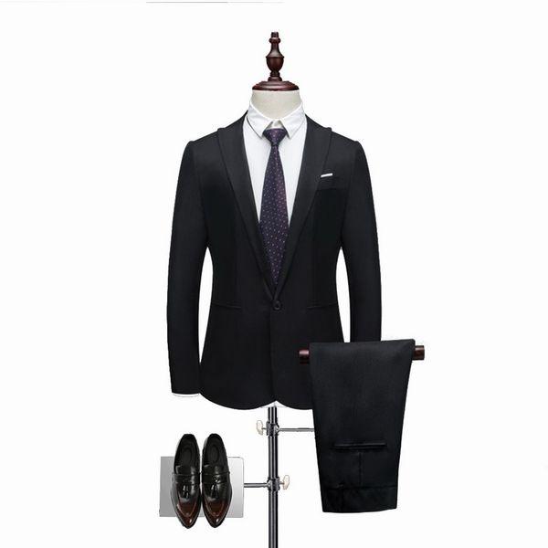 2 Pieces Brand Men Suit Fashion Solid Suit 2018 Casual Slim Fit Mens Bussiness Wedding Suits Male Jacket Coat Pant Plus Size 3XL C18122501