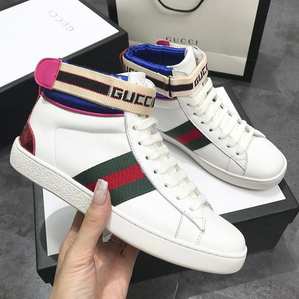 Großhandel 2019 Italienische Hochwertige Design Damen Schuhe Aus Echtem Leder Sneakers Marke Biene Stickerei Damen Laufschuhe Klassische Stiefel Von