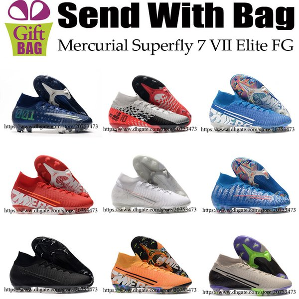 Nueva Mercurial Superfly VII 7 zapatos Elite FG CR7 fútbol Cristiano Ronaldo para hombre Neymar JR Sueño de alta velocidad tobillo Calcetines Botas de fútbol de las grapas