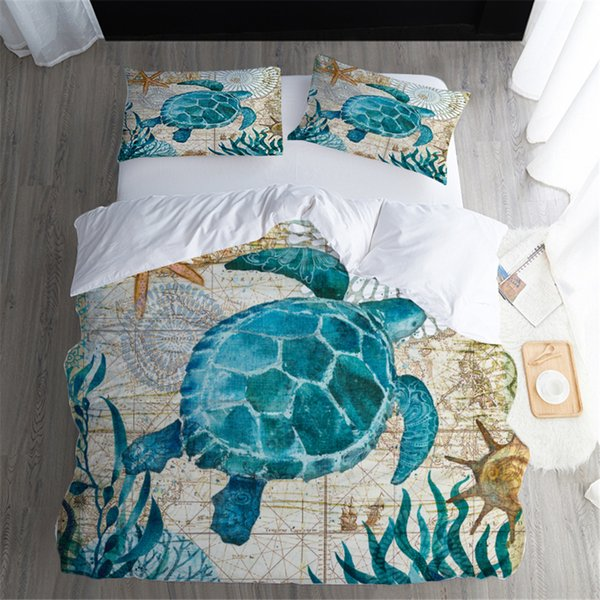 Duvet Cover sets Twin FUll Queen King Size Quilt Covers seaweed sea turtle cartoon Printed with Couple Pillow Cases Cover 3PCS bedding sets