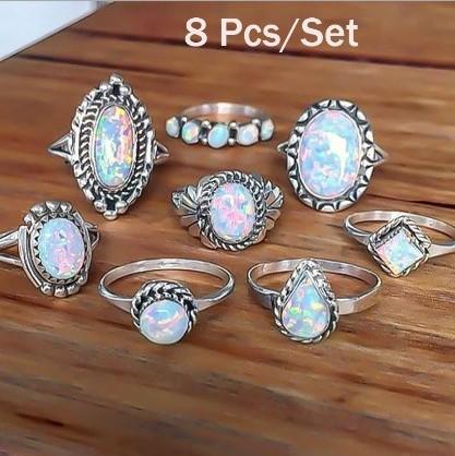 Neue Design Vintage Opal Knuckle Ringe Set Für Frauen Boho Geometrische Muster Blume Ringe Party Böhmischen Schmuck 8 Teile / satz