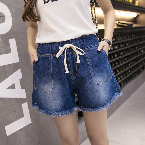 Plus Size 7XL Shorts in cotone da donna Jeans Shorts casual con coulisse 2019 Shorts in denim da donna Fashion Summer Feminino WH21