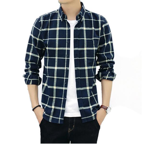 2019 мужской моды осень-зима мода решетки с длинными рукавами рубашка человек старший досуг чистый хлопок ремонт боди рубашку S-4XL