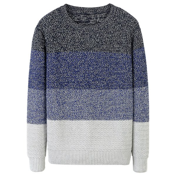 autumn men sweater cotton striped blue gray khaki colour pullovers man casual slim fit clothes 2018 male wear knitting  606