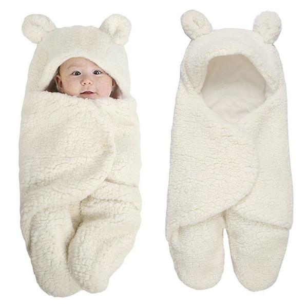 Newborn Foot Cover Swaddle Wrap Winter Cotton Plush Hooded Climbing Suit Baby Jumpsuit Bag 0-12m Q190520