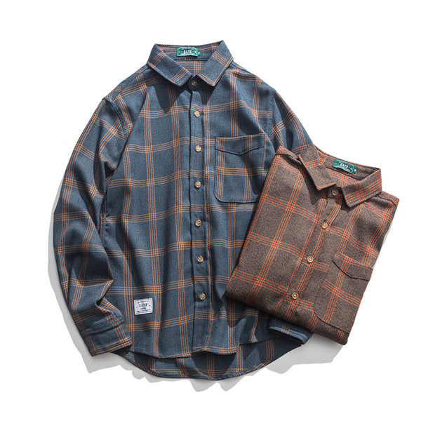 Automne et hiver original nouveau style principal grande chemise à carreaux taille chemise classique des hommes