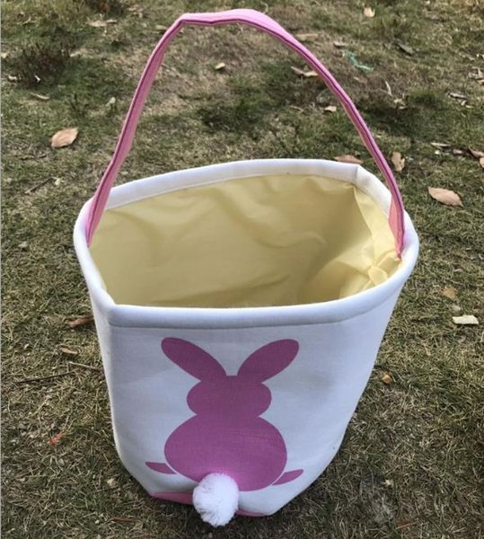 100 UNIDS 4 Colores Conejo de Pascua Cesta Conejito de Pascua Bolsos Conejo Impreso Lienzo Tote Bag Caramelos de huevo Cestas