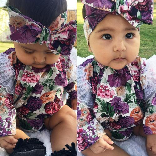 New Style Kid Baby Girls Floral Bodysuit Long Sleeve Jumpsuit Headband Toddler Infant One-Piece Outfits Summer Children Clothing New Style Kid Baby Girls Floral Bodysuit Long Sleeve Jumpsuit Headband Toddler Infant One-Piece Outfits Summer Children Clothing