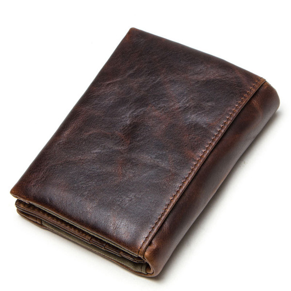 Crazy Horse Leather Man Wallet Genuine Leather Vertical Section Three Fracture Hasp Wallet Generation Hair wallets for men Free shipping