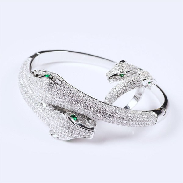 Designer Fashion Rings Bangles Sets Luxury Full Diamond Double Animals Head Bracelets Rings Couples Exquisite Wedding Jewelry Lover Gift