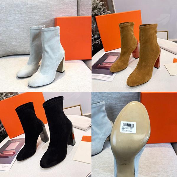 ayakkabı kutusu kadın ayakkabıları ile yeni 2019 Deri çizme Lüks Tasarımcı kış botları Bilek Boots hakiki% 100 gerçek deri kadın yüksek topuk çizmeler
