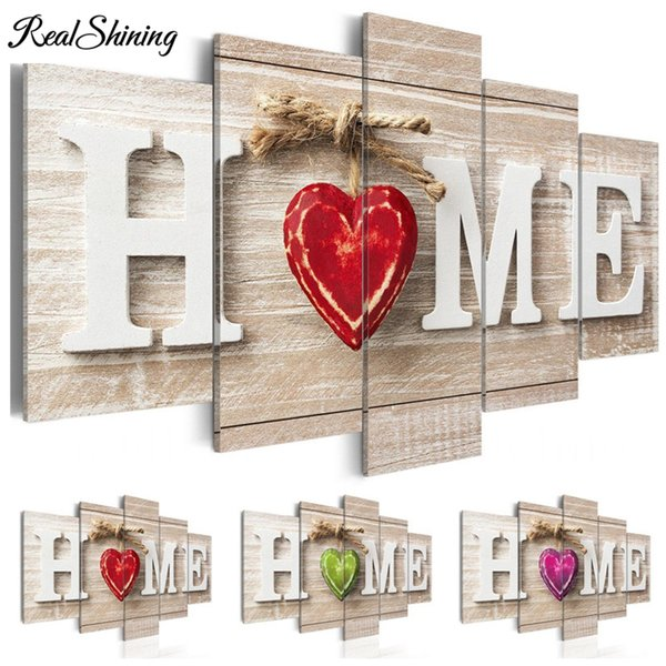 Multi-picture DIY Diamond Painting Full Embroidery Home Red Heart Wooden Background 5D Square/Round Drill Kitchen Decor S4150