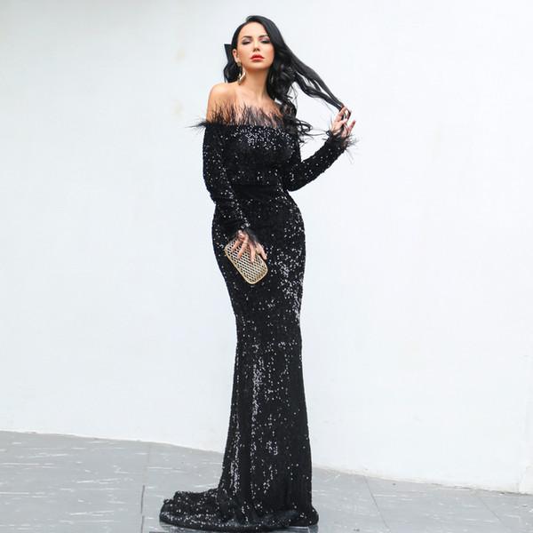 2019 Muhteşem Kapalı Omuz Kolsuz Uzun Mermaid Gelinlik ile Ruffles Mermaid Mor Tam Sequins Abiye giyim Artı Boyutu