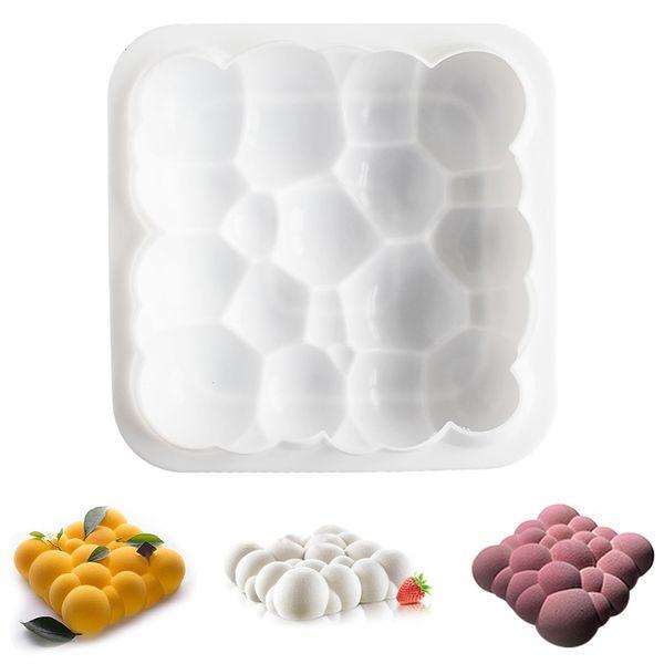 Rejilla Nubes de bloques irregulares Molde de la torta de ondulación Moldes de la torta de la mousse 3D para helados Chocolates Molde de la torta Cacerola Utensilios para hornear 3PCS