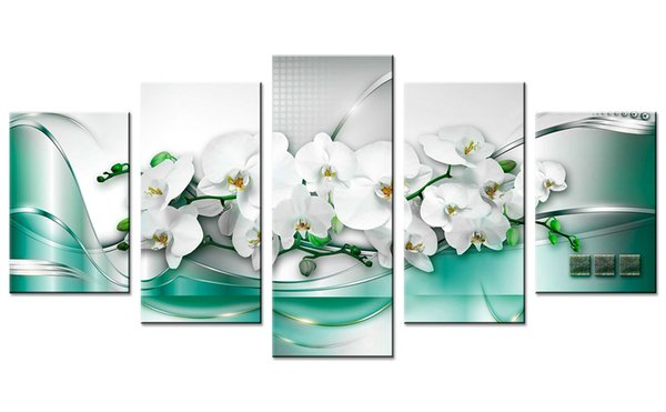 Unframed 5 Pieces Green Line Butterfly Orchid Picture Prints Canvas Wall Art Painting Wall Picture for Home Living Room Decor