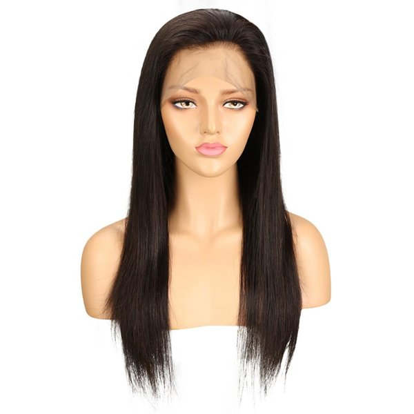 360 Frontal Human Hair Wigs Brazilian Remy Straight Lace Front Human Hair Wigs For Black Women Natural Color 24 Inch