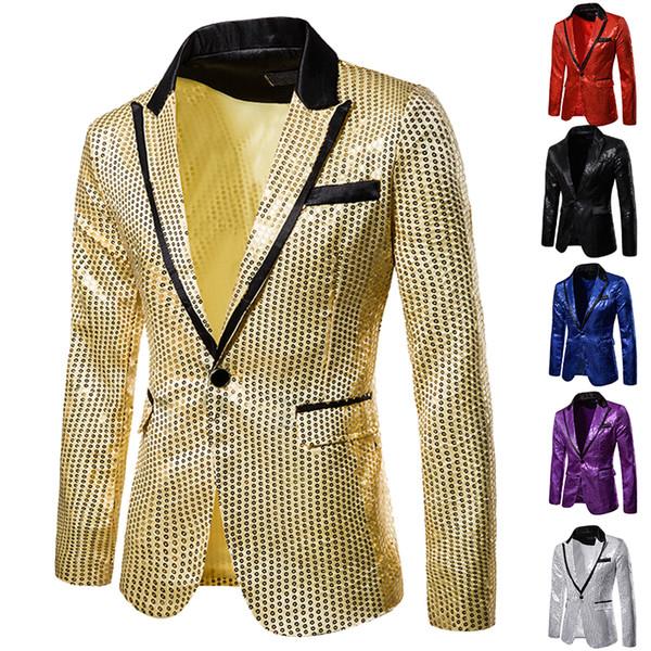 HEFLASHOR 2019 Shiny Sequin Glitter Blazer Jacket Men Nightclub Host One Button Suit Blazer Male Prom Stage Wedding Costumes 2XL