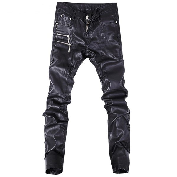 2019 trend new black Slim leather pants personality zipper stitching leather pants fashion youth motorcycle leather pants male