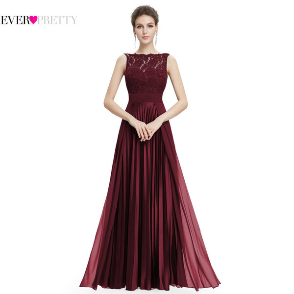 Ever Pretty Evening Dresses Gorgeous Formal Round Neck Lace Long Sexy Red Women Party 2019 Ep08352 Special Occasion Party Dress Y19051401