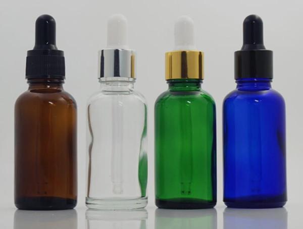 1 oz 30ml e flacone contagocce in vetro liquido ambra blu verde chiaro colore bianco tappo a prova di manomissione per profumo di ejuice profumo di olio essenziale