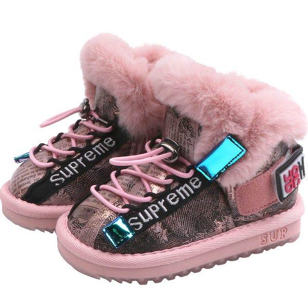 2019 chaussures d'hiver tout-petits 1-3Y bébé fille chaussures filles bottes de neige bottes filles bambin chaussures bébé bottes short princesse botte A8910 de chaussures pour bébé