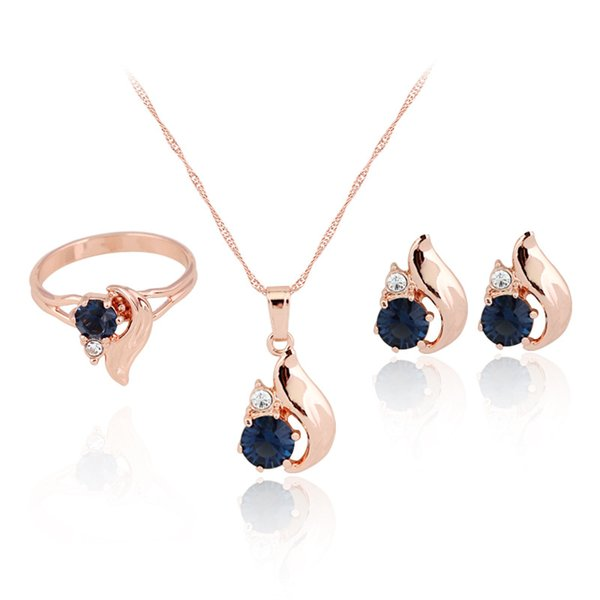 HC Vintage Blue Crystal Elegant Jewelry Sets for Girl Children Gift Fashion Gold Ring Earring Necklace Set Bridal Wedding Gift F