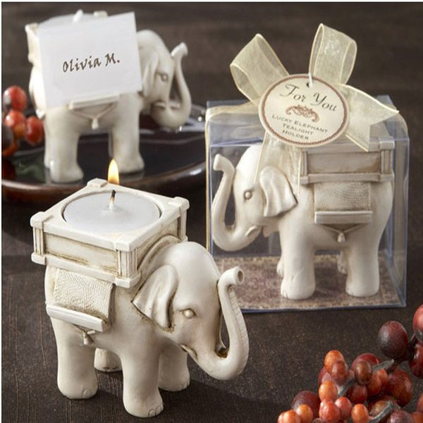 Wedding Favors Lucky Elephant Candlestick Resin Candle Holder European Style Home Decorations Party Souvenir Gifts 5 Pieces ePacket