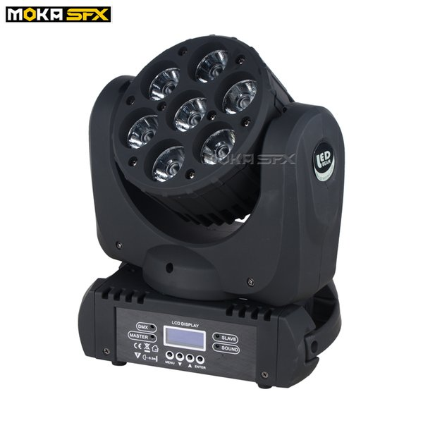 7x12W RGBW 4in1 Светодиодная подвижная головка Луч света светодиодные прожекторы DMX 512 High Power движущаяся лампа