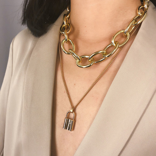 Gold Silver Hyperbole Multi-layer Lock Thick Chain Pendant Necklace Fashion Rock Party Club Street Beach Jewelry