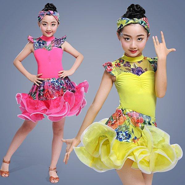 Nuevos niños, trajes de baile latino, ropa de rendimiento, concurso infantil, impresión, baile latino, práctica de desempeño, servi