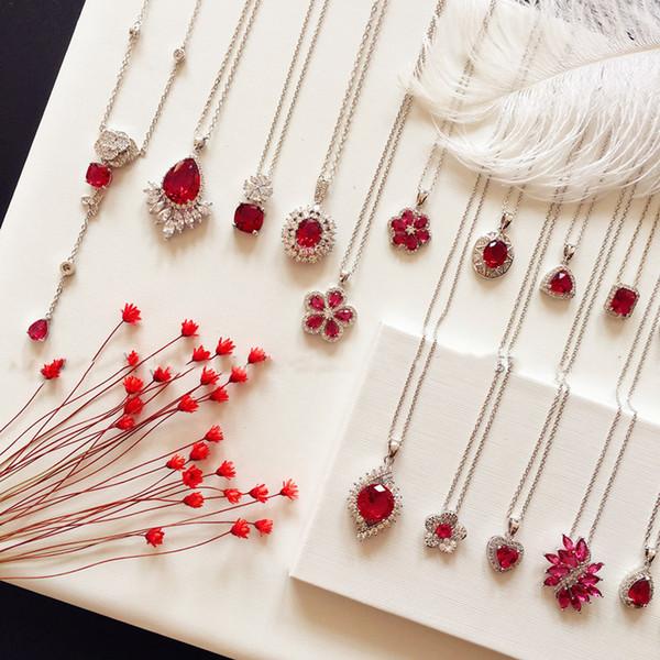 Colares para mulheres S925 Sterling Silver Rubi Vintage Red cúbicos zircônia jóias finas Clavicular acessórios de cadeia