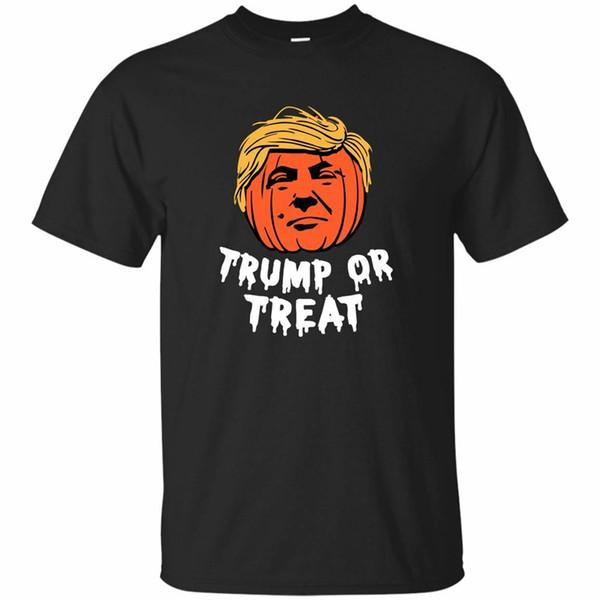 Siyah, Lacivert Tee Donald Trump Veya Treat Cadılar Bayramı Komik Tişört Kadın Erkek Yaz Stili Tee Gömlek