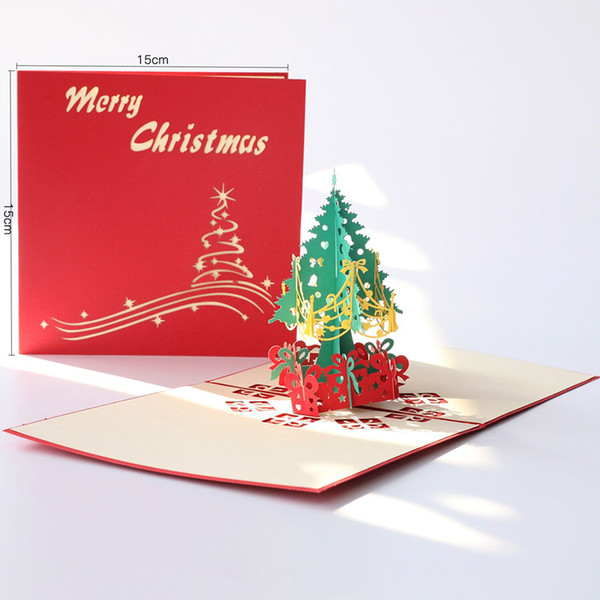 top popular 3d Creative Christmas Card Christmas Tree Winter Gift Pop UP Cards Christmas Decoration Stickers Laser Cut New Year Greeting Cards 2021