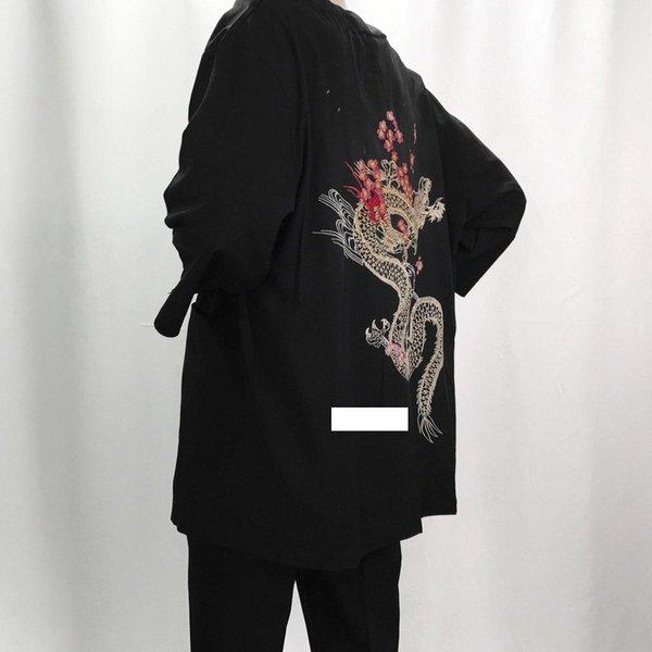 2018 sonbahar keten kimono ceket erkekler etnik pamuk keten ceketler kiraz ejderha nakış şifon güneş koruması bayan giyim S18101804