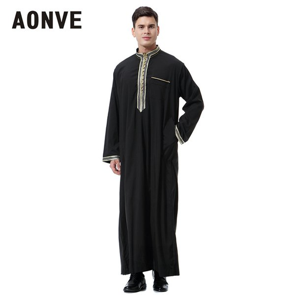 Aonve Formal Prayer Abaya For Men Pocket Stand Collar Muslim Daily Kaftan Saudi Arabia White Thobe Homme Islam Black Abayas
